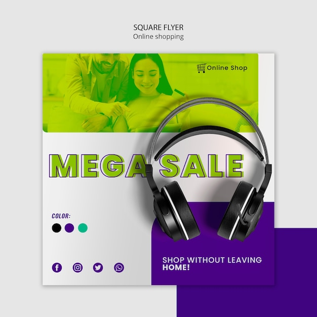Shop now devices online square flyer with headphones Free Psd