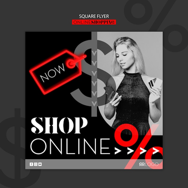 Shop now online fashion square flyer Free Psd