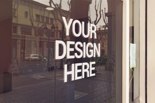 Shop window logo mockup Premium Psd