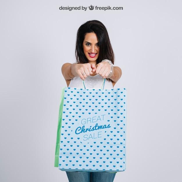 Shopping bag mockup with stylish woman Free Psd