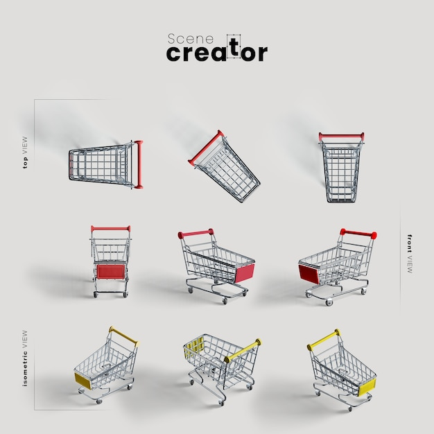 Shopping cart with wheels various angles for scene creator illustrations Free Psd