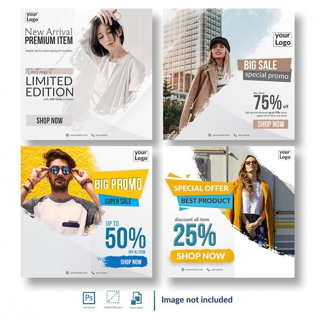 Shopping discount sale social media template bundle Premium Psd