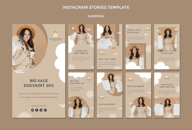 Шаблон истории покупок в instagram Бесплатные Psd