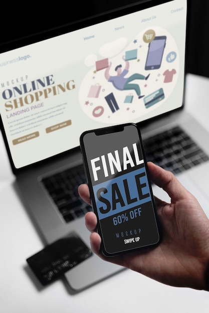 Shopping online on laptop and mobile Free Psd
