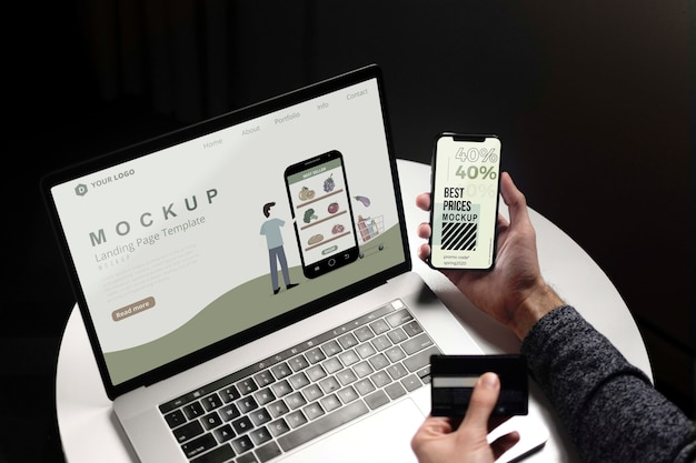 Shopping online on laptop and phone Free Psd