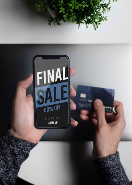 Shopping online session on phone Free Psd