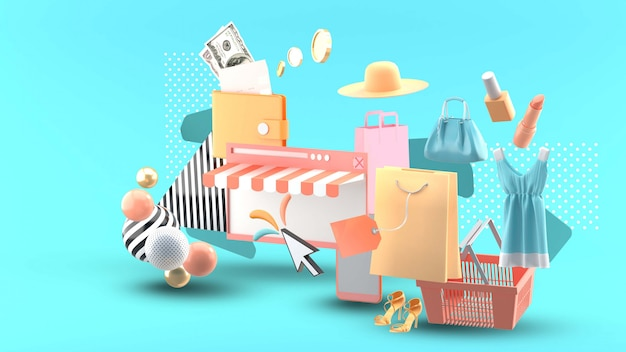 Shopping online on website surrounded by clothes, cosmetics, wallet and shopping baskets on blue Premium Psd