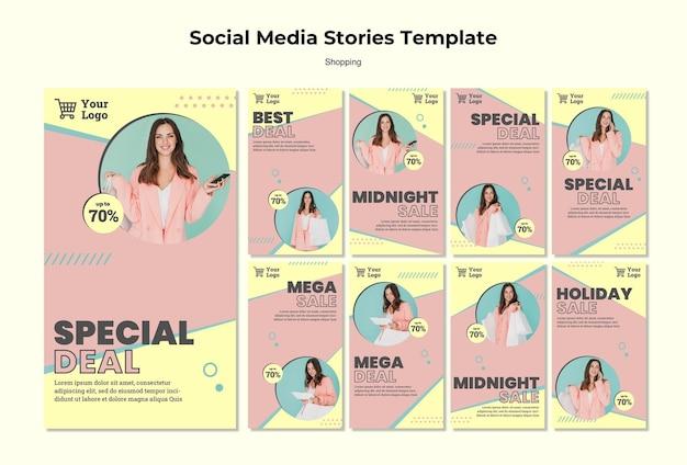 Shopping modello di storie sui social media Psd Gratuite