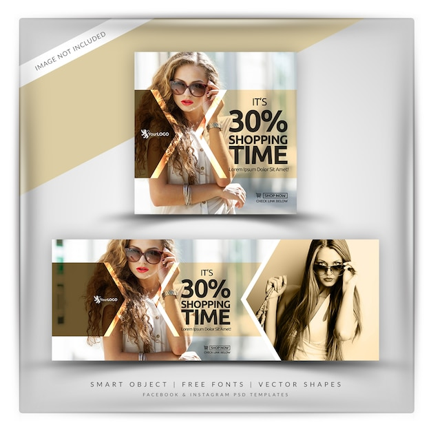 Shopping time instagram & facebook banner PSD file | Premium