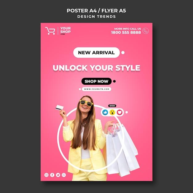 Шаблон рекламного плаката для покупок Бесплатные Psd
