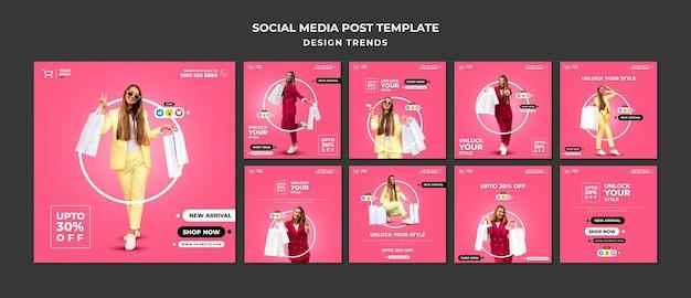 쇼핑 여자 소셜 미디어 게시물 템플릿 프리미엄 PSD 파일