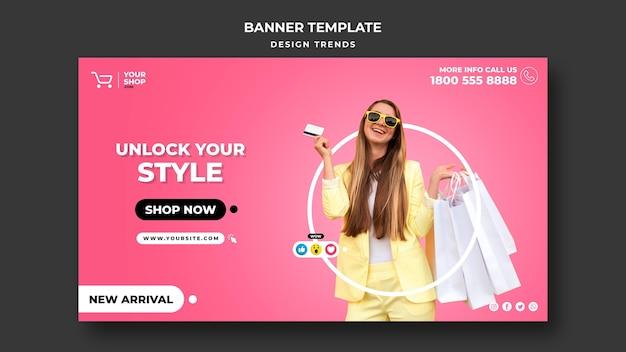 Banner modello di donna dello shopping Psd Gratuite