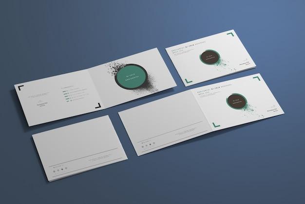短辺折りa4二つ折り水平モックアップ Premium Psd