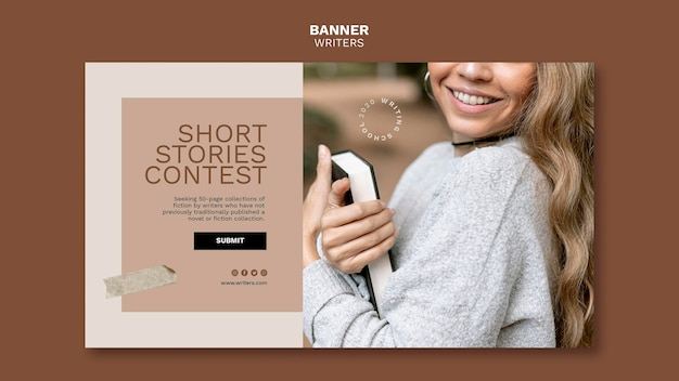 Short stories contest banner template Free Psd