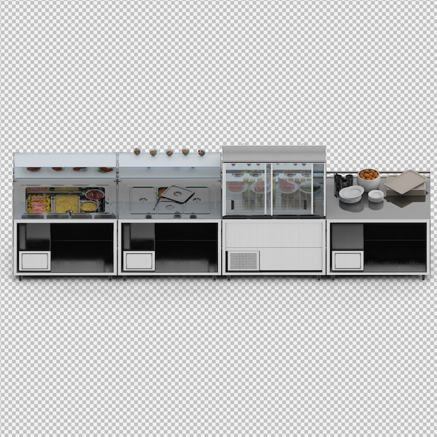 Showcase with food 3d render Premium Psd