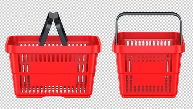 Красная пустая пластиковая корзина для покупок, вид сбоку и спереди Premium Psd