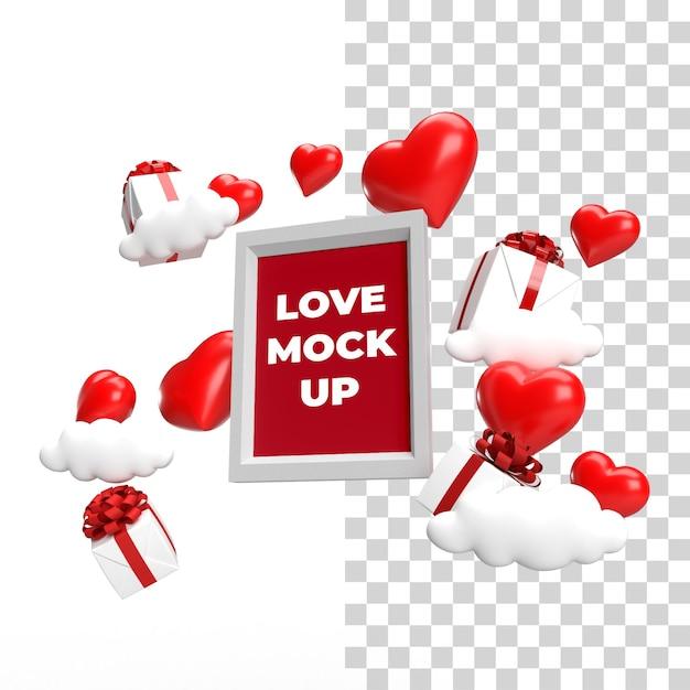 측면 하단보기 부동 프레임 모형 발렌타인 개념 프리미엄 PSD 파일