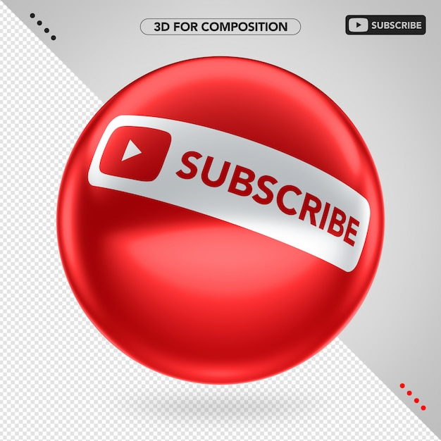 Side red 3d ellipse youtube subscribe for composition Premium Psd
