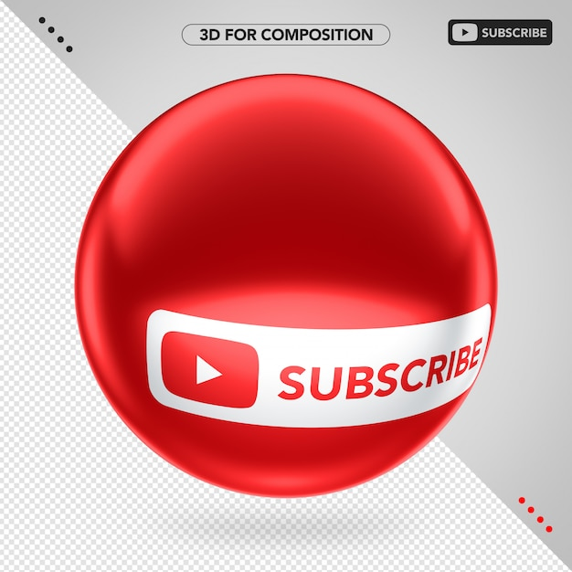 Side red 3d ellipse youtube subscribe Premium Psd