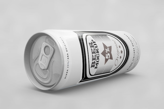 Side view beer can mock up Free Psd
