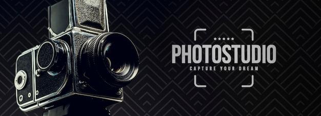 Side view of camera for photo studio Premium Psd