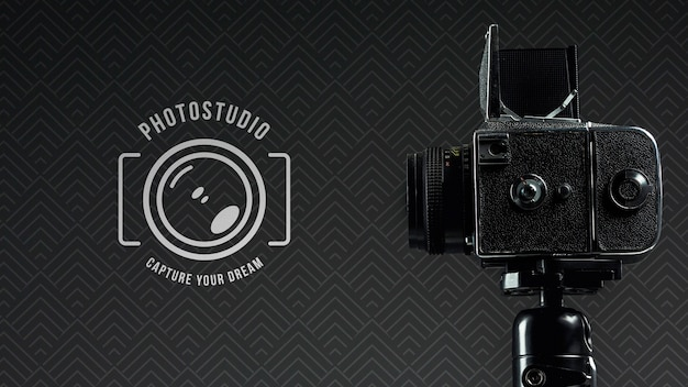 Side view of digital camera for photo studio Free Psd