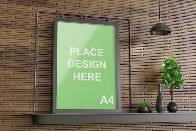 벽 테이블에 사이드 뷰 프레임 모형 프리미엄 PSD 파일
