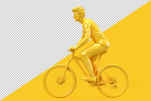 자전거에 캐주얼 옷을 입은 남자의 모습 프리미엄 PSD 파일