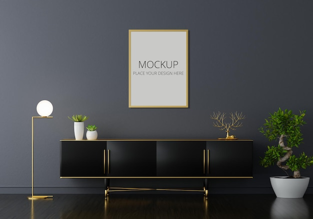 Sideboard in black living room with frame mockup Free Psd