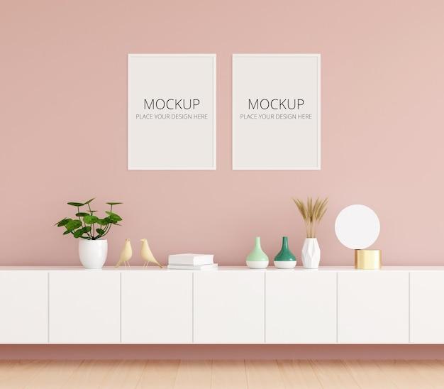 Комод в розовой гостиной с рамным макетом Premium Psd