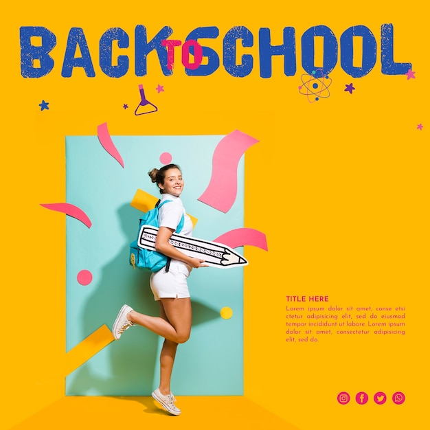 Sideways teenager girl with orange background Free Psd