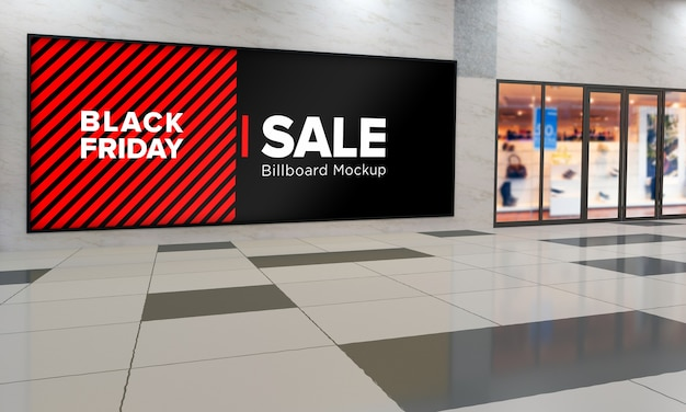 Sign board on wall mockup in shopping center with black friday sale banner Premium Psd