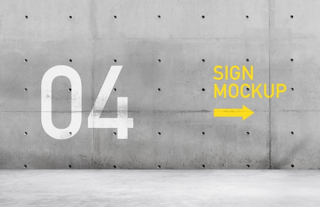 Sign mockup on concrete wall Premium Psd