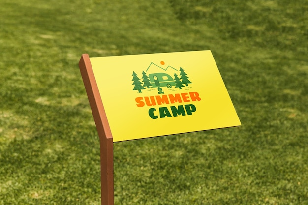 Sign mockup with grass Free Psd