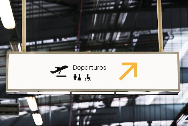 Signboard mockup at an airport Free Psd