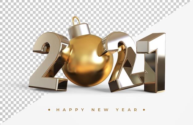 分離されたクリスマスボール3dレンダリングとシルバー2021新年 Premium Psd