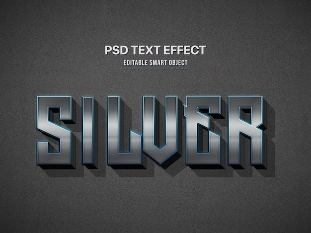 Silver 3d text style effect Premium Psd