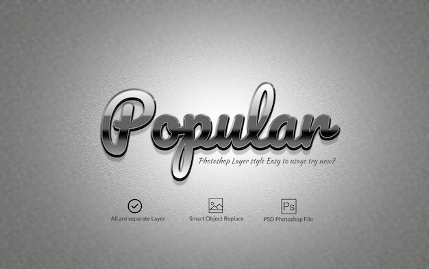 Silver glossy photoshop text effect PSD file | Premium Download