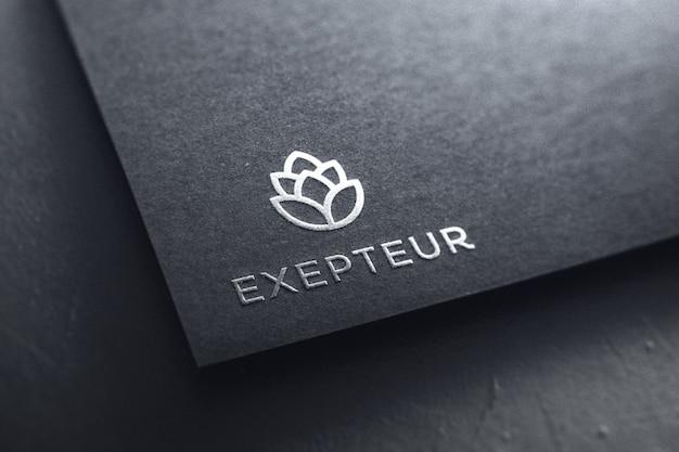 Silver logo mockup paper Premium Psd