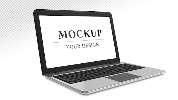 Серебряный ноутбук реалистичный макет ноутбука изолирован Premium Psd