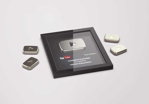 Silver play button youtube mockup Premium Psd