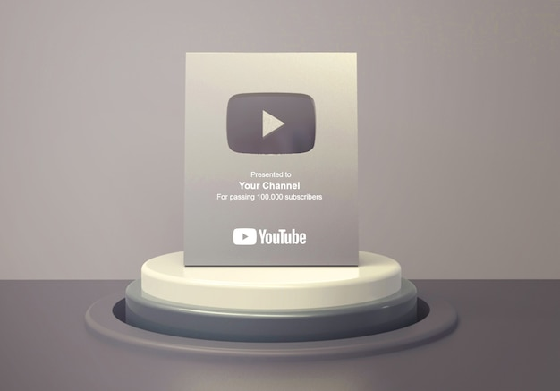Silver play button youtube on round podium pedestal mockup Premium Psd