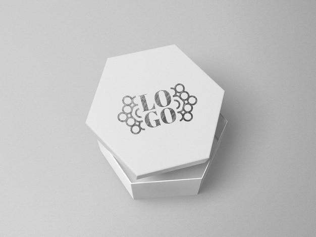 Макет логотипа с серебряной печатью на шестиугольнике Premium Psd