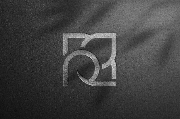 Silver rose logo mockup on dark paper Premium Psd