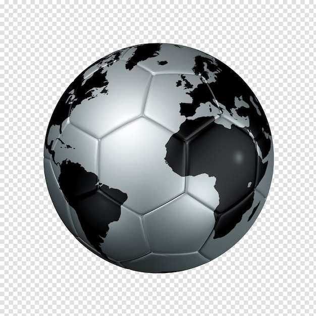 Silver soccer ball with world map Premium Psd