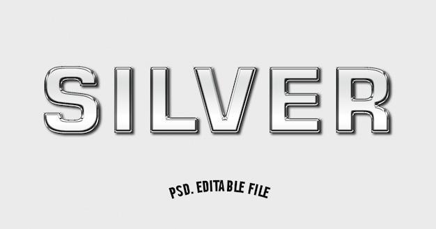 Silver text effect font mockup 3d Premium Psd