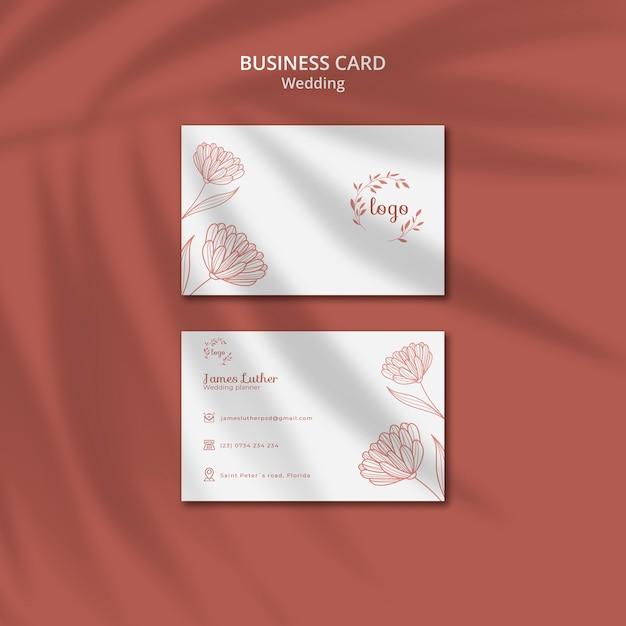 Простой и элегантный шаблон визитки для свадьбы Бесплатные Psd