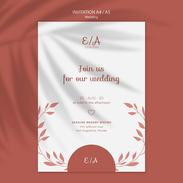 Простой и элегантный шаблон приглашения на свадьбу Бесплатные Psd