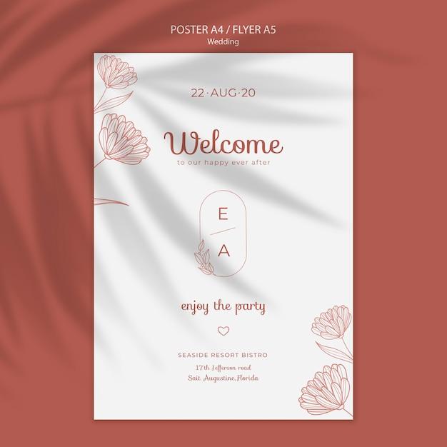 Простой и элегантный шаблон постера для свадьбы Бесплатные Psd
