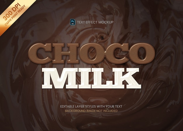 Simple chocolate and milk logo text effect template Premium Psd